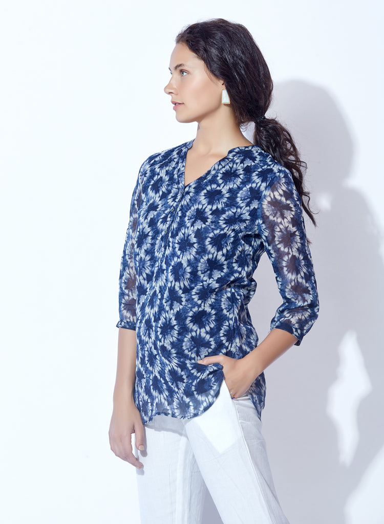 Stylised Georgette print tunic