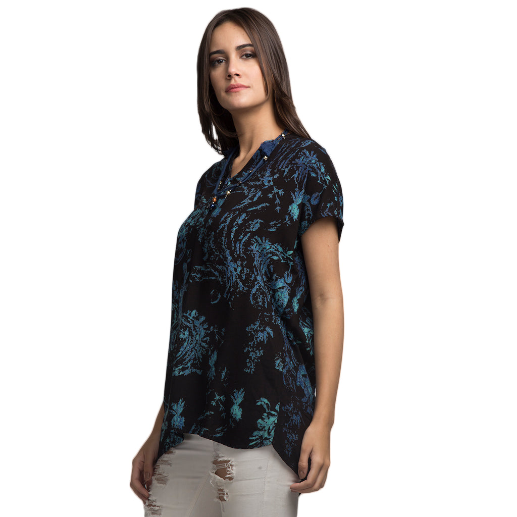 Wax Printing Inspired Tunic With Half Placket