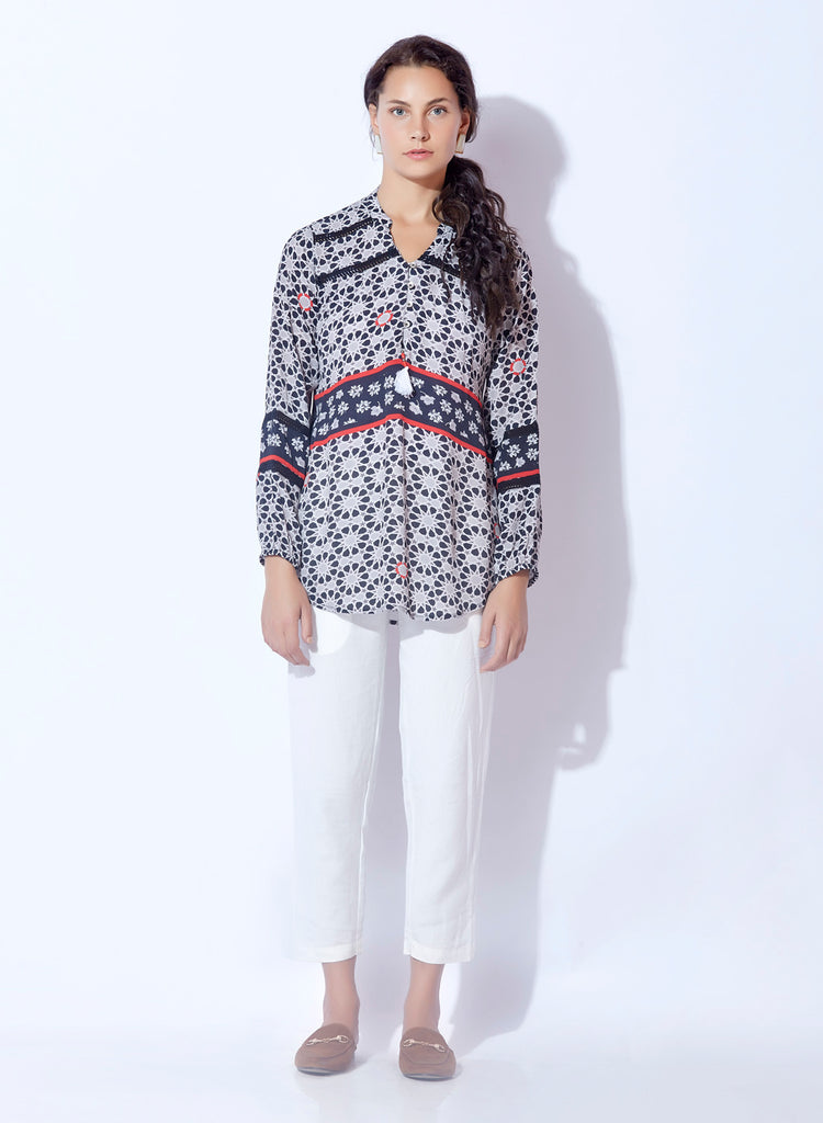 Moss Crepe Digital geometric print tunic with laces