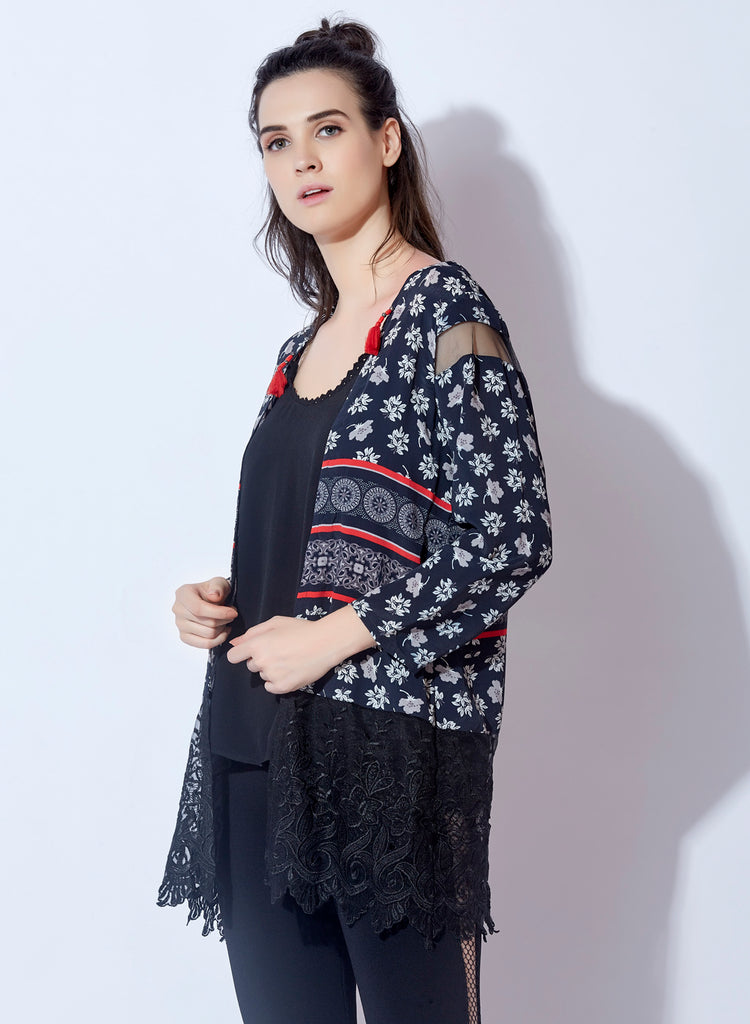 Digital geometrical print full front open shrug