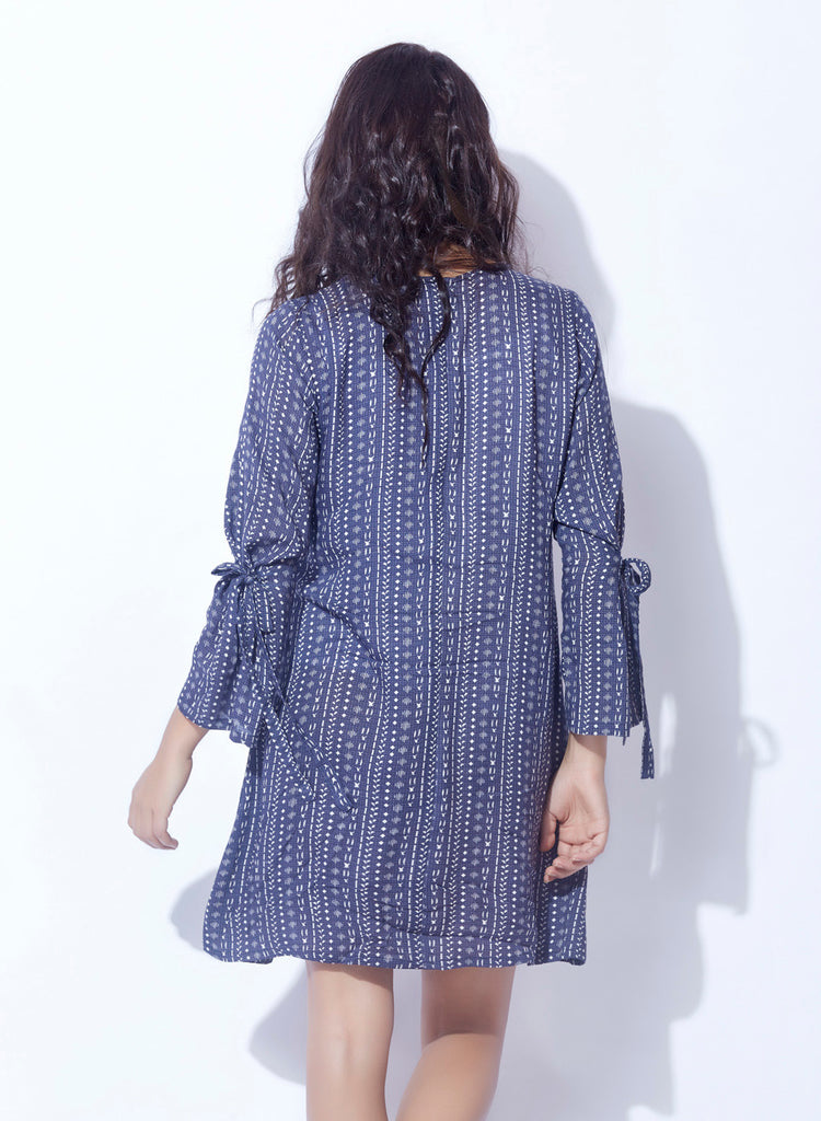 Rayon slub printed dress