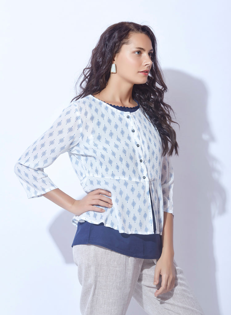Handloom printed fabric peplum top