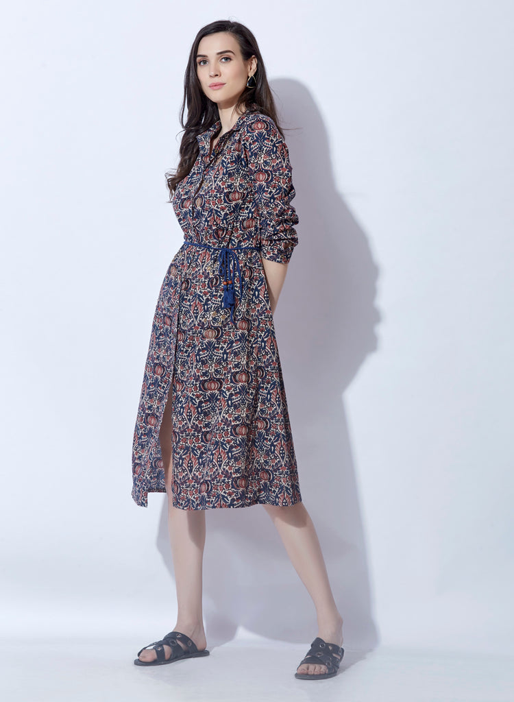Cambric printed shirtdress