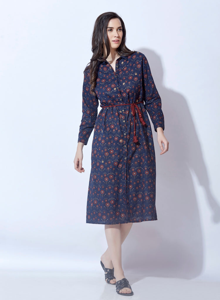 Cambric printed shirtdress with belt