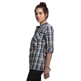 Yarn Dyed Indigo Plaid Fabric Top
