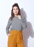 Striped Top With Black Piping