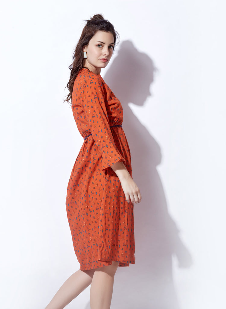 Printed Handloom Slub Shirtdress