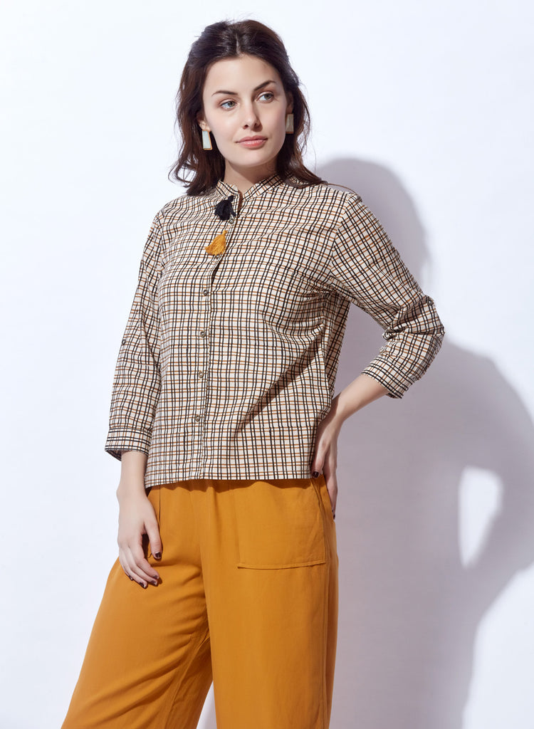 Chekered print shirt style Crop Top