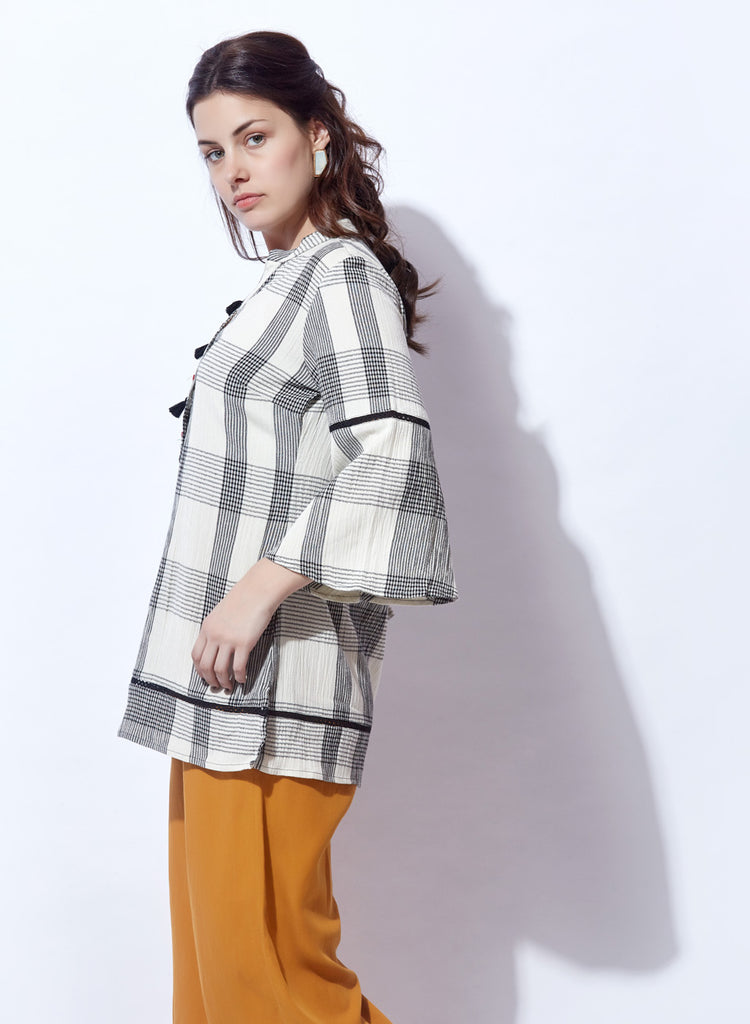 Checkered A-line Top with tassels, lace and embroidery details