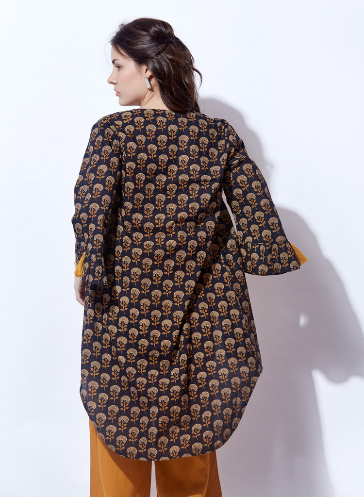 Black Printed Shrug With yellow inner