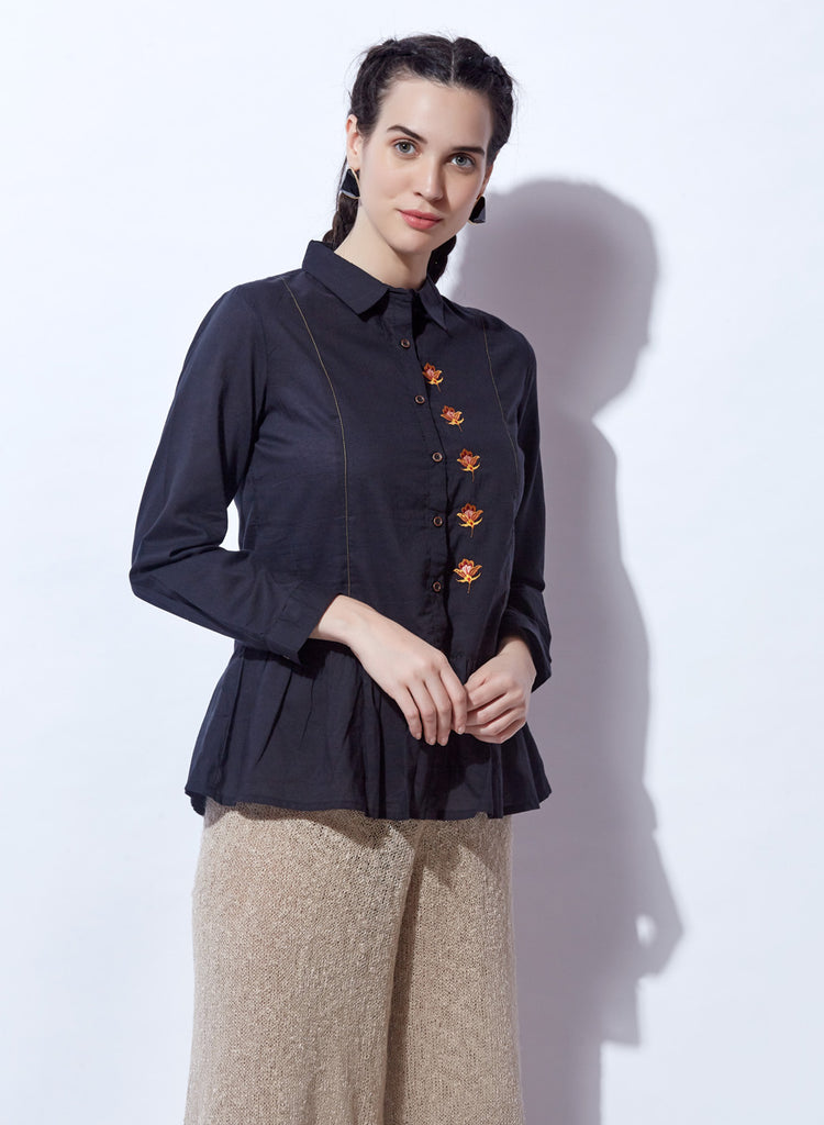 Peplum top with embroidery