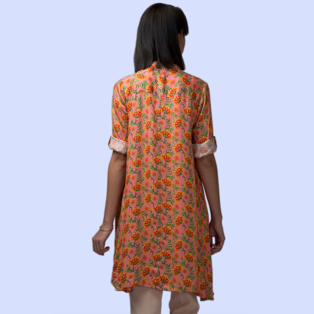 Bright Colour Digital Print High-Low Hem Tuni