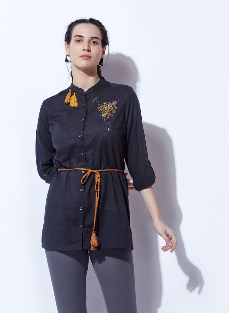 Shirt Style Button-down Embroidered top