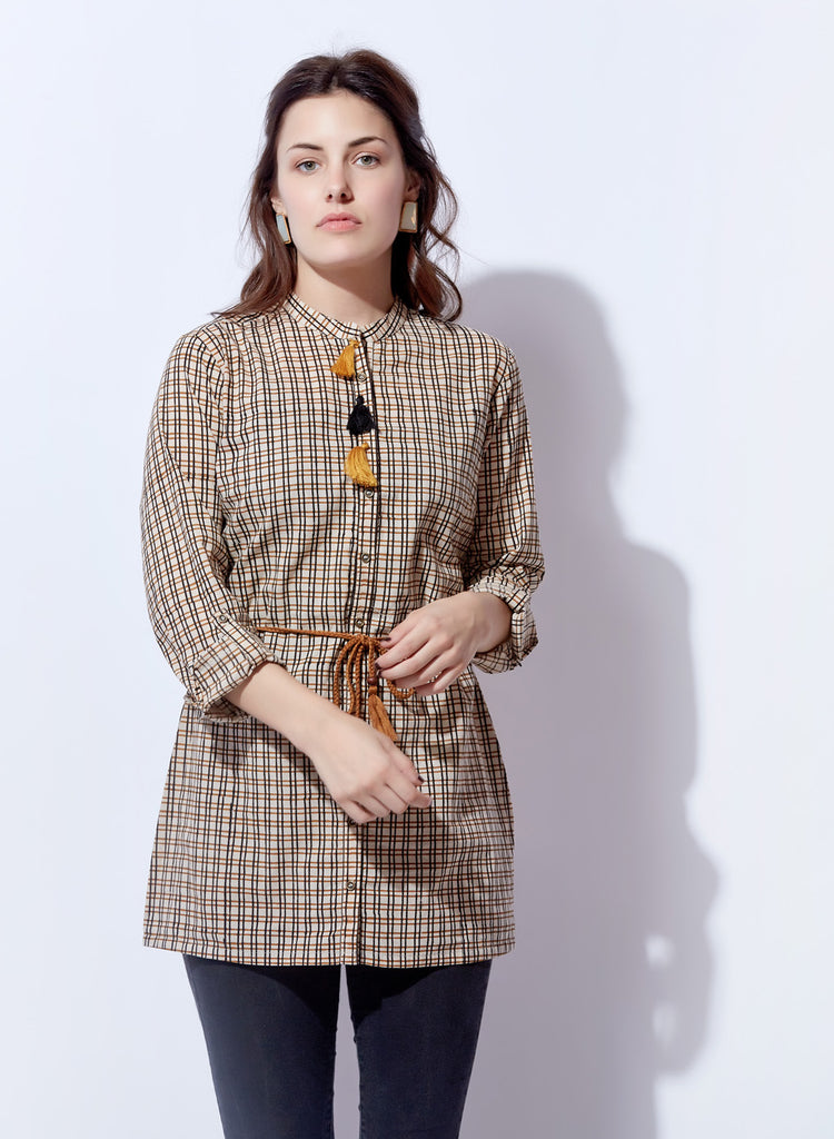 Chekered Print shirt style belted top