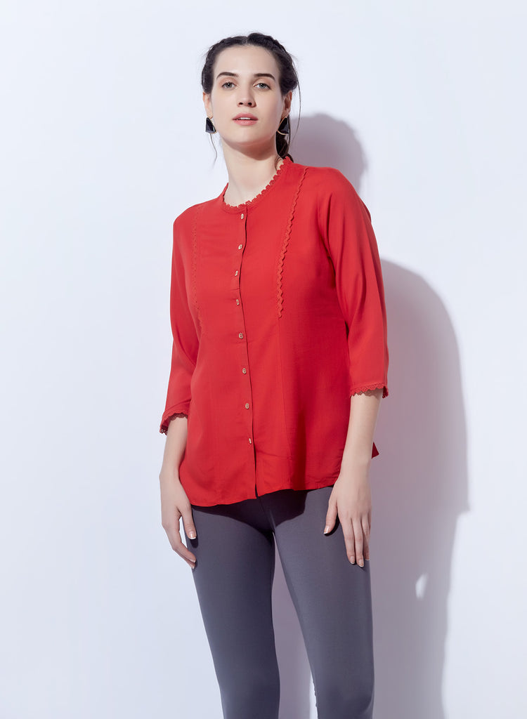 Red Top With Lace Detail