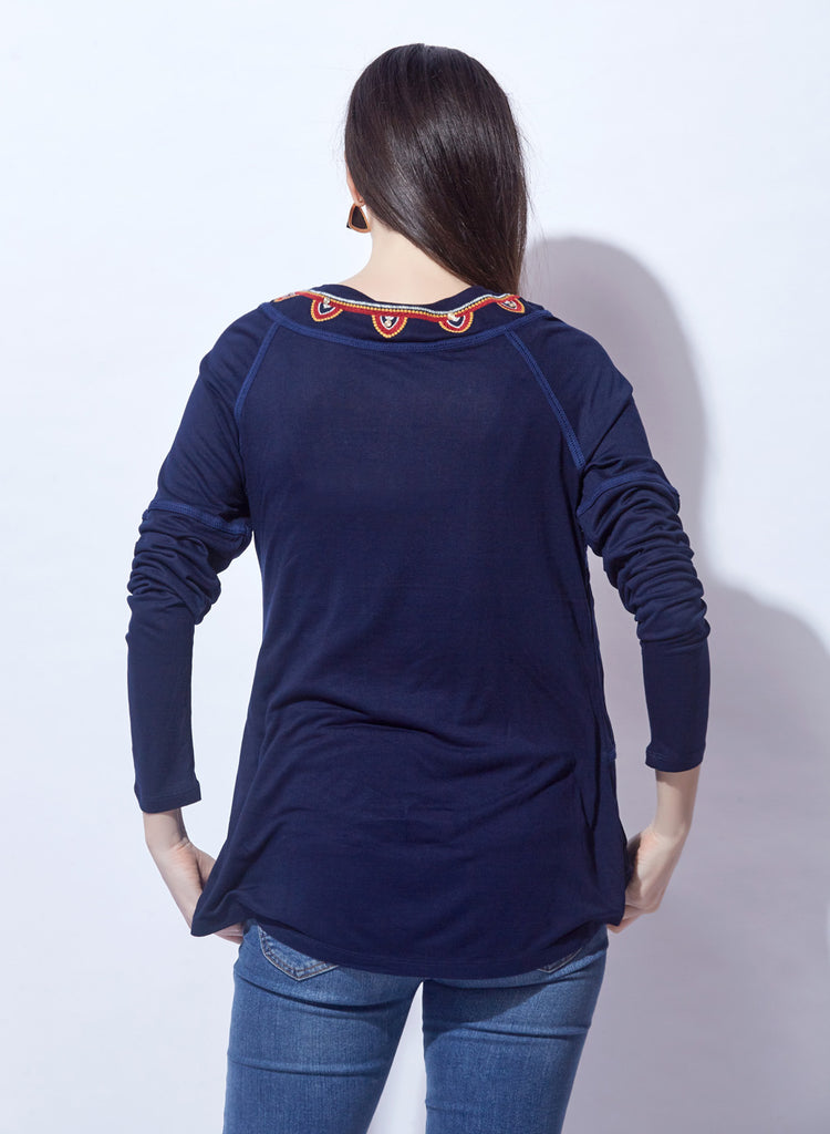Navy Top With Embroidery & Lace Insert