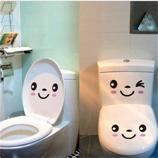 Cartoon Smiley Face Toilet Seat Stickers (3pcs),Wall Stickers - I Heart Walls