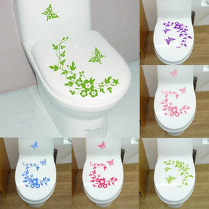 Butterfly & Flower Bathroom Decal,Wall Stickers - I Heart Walls