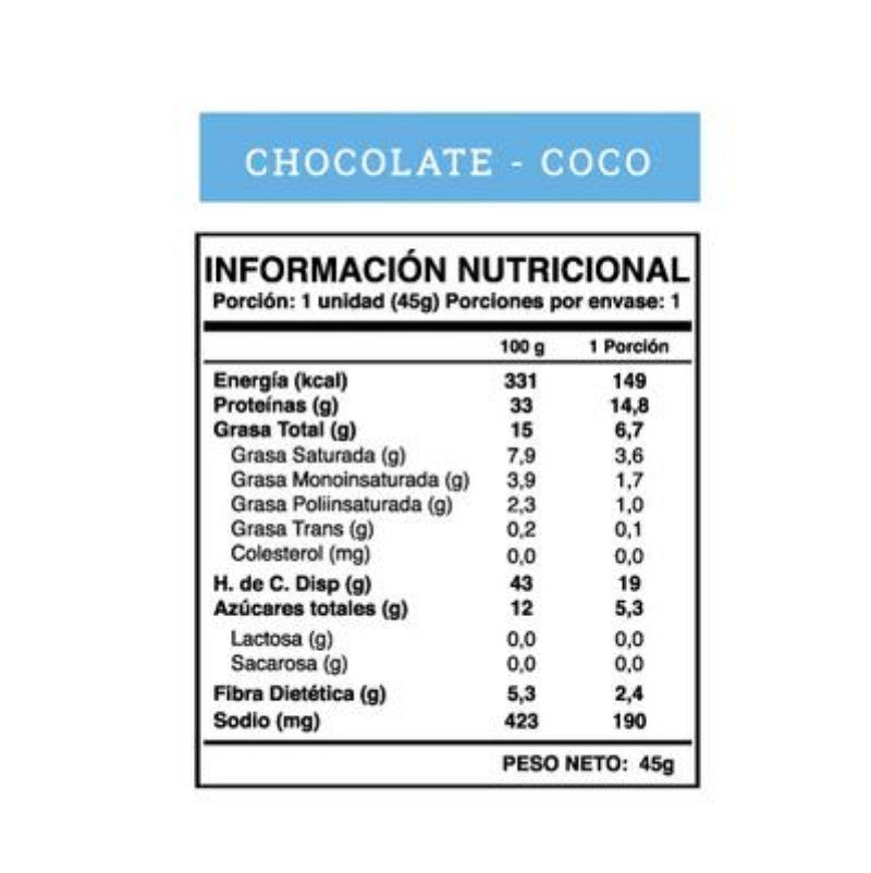 Protein Bar Vegana Chocolate - Coco 5 unid.