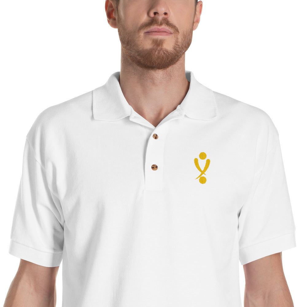 Yamasaki Simple Logo Embroidered Polo Shirt in White, Black or Royal Blue