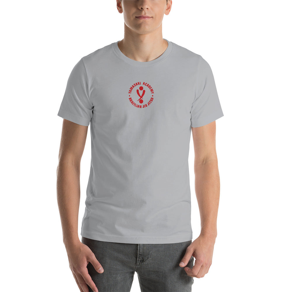 Yamasaki Red logo with Vertical Logo Kanji on back - Short-Sleeve Unisex T-Shirt