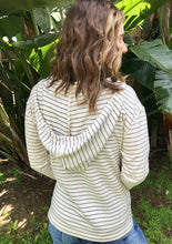 Load image into Gallery viewer, LAGACI Striped Hooded French Terry Long Sleeve With Kangaroo Pocket