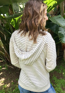 LAGACI Striped Hooded French Terry Long Sleeve With Kangaroo Pocket
