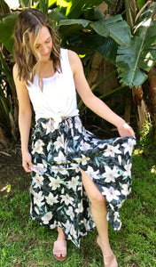 LAGACI Floral Button-Up Maxi Skirt With High Slits, Elastic Waistband, And Adjustable Tie