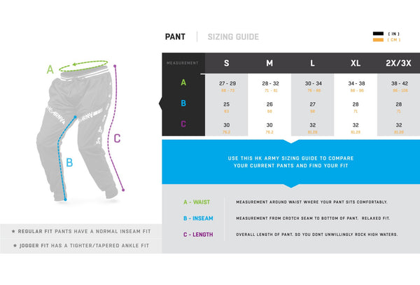 HK Army Pants Sizing Guide