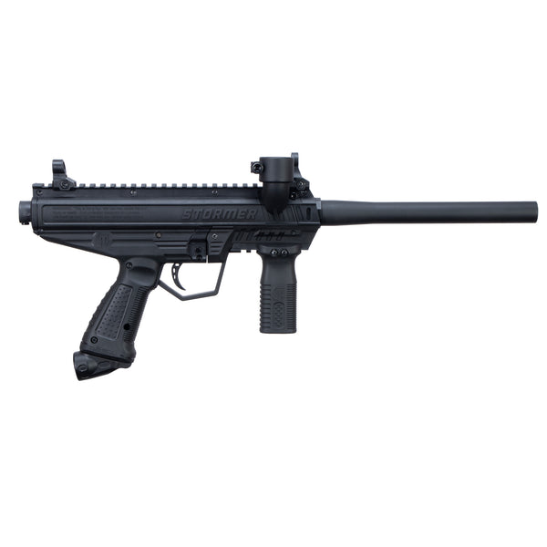 Tippmann Stormer Basic Paintball Gun in Black from the Right Side.
