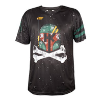 Hk Army May the Forth Boba Phat dryfit shirt black with star ware themed skull in green Front.