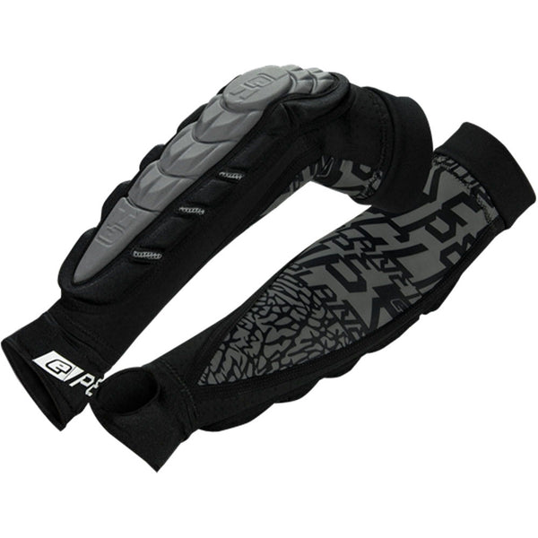 Planet Eclipse Overload HD Core Arm Pads in Black with FANTM pattern on fore arm panel in Black with Grey Inserts.