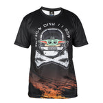 HK Army HSTL Wars Dryfit Shirt with baby yoda riding in a HK skull space shiip Front