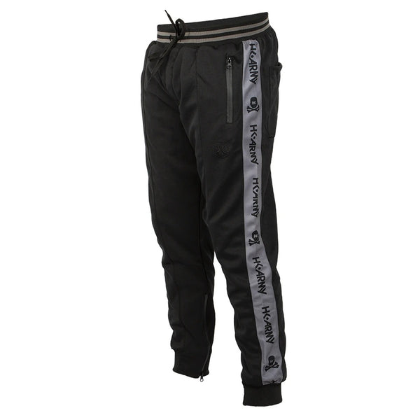 HK Army Track Jogger Pants in Black with HK Skull logo down the side in Grey - Quarter View