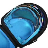 Interior photo of Exalt V3 Universal Lens Case with examples of different lenses that fit.  Showcases the limited blue ultra-soft high-pile microfiber interior.