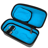 Exalt Paintball Loader Case with Charcoal Carbon Exterior and Blue ultra soft high-pile microfiber lining open to show the interior of the loader.