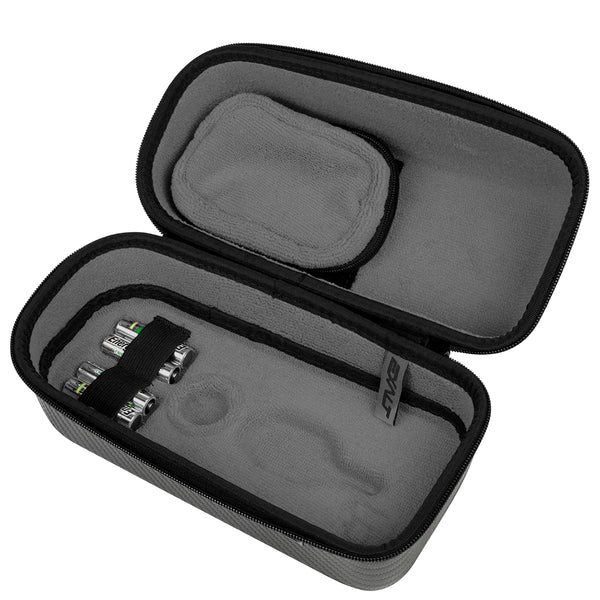 Exalt Paintball Loader Case with Charcoal Carbon Exterior and Grey ultra soft high-pile microfiber lining open to show the interior of the loader.