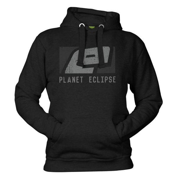 Planet Eclipse Stamp printed Hoody in Black and Grey Front