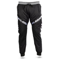 HK Army TRK Jogger Pant in Black with HK Typeface down the side - Black White - Front View