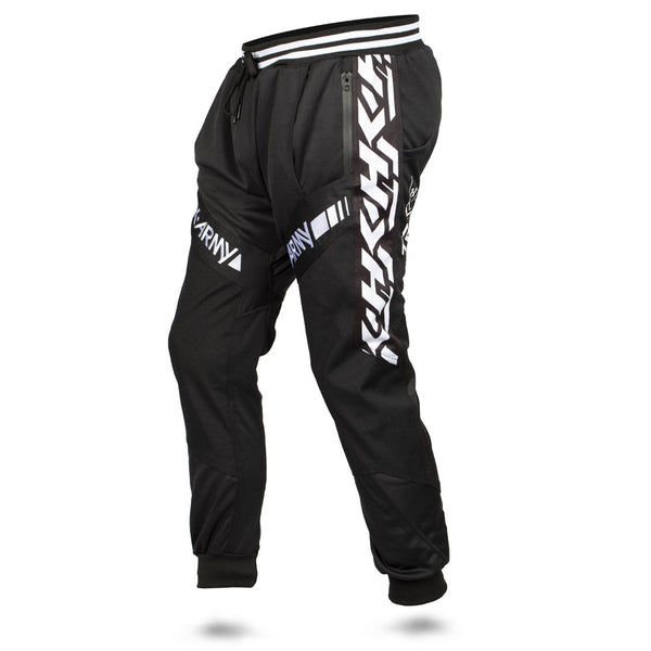 HK Army TRK Jogger Pant in Black with HK Typeface down the side - Black White - Side View