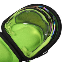 Interior photo of Exalt V3 Universal Lens Case with examples of different lenses that fit. Showcases the Lime ultra-soft high-pile microfiber interior.