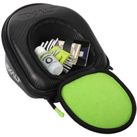 Interior photo of Exalt V3 Universal Lens Case storage pocket. With examples of different items that fit. Showcases the Lime ultra-soft high-pile microfiber interior.