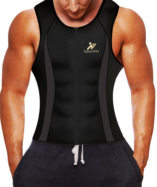 Mens Waist Trainer Gym Sauna Sweat Suit Zipper Sports Shirt Body Shaper Vest CA