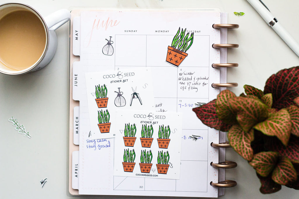Houseplant garden sticker set