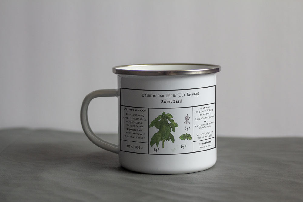 Basil Herbal Tea Enamel Mug