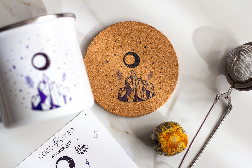 Full Moon Magic All Natural Cork Coaster Set of 4 Coco and Seed