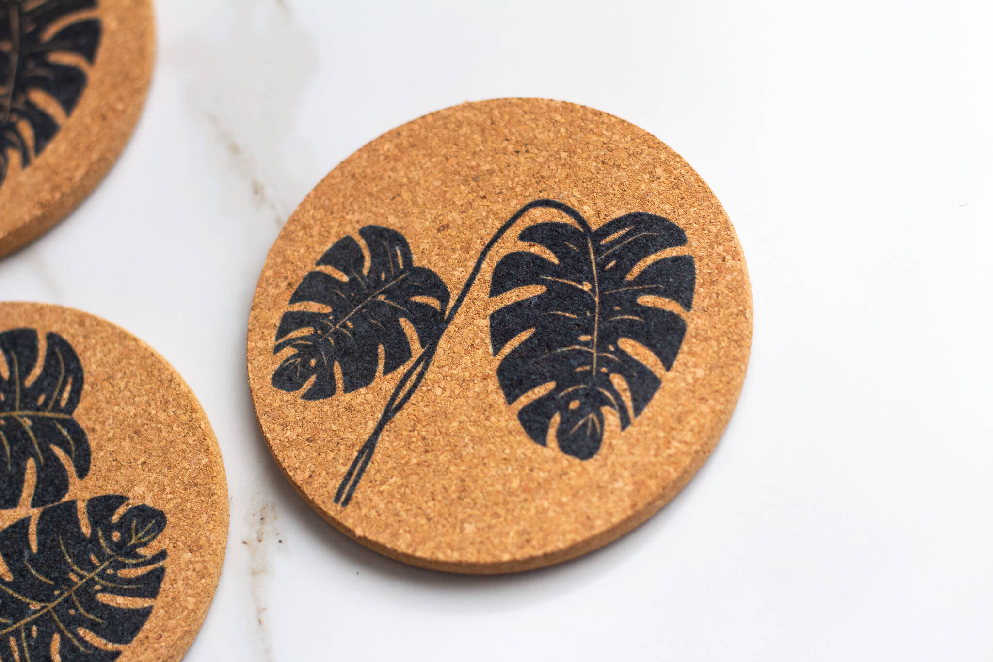 Two Leaf Monstera Plant All Natural Cork Coaster Set of 4