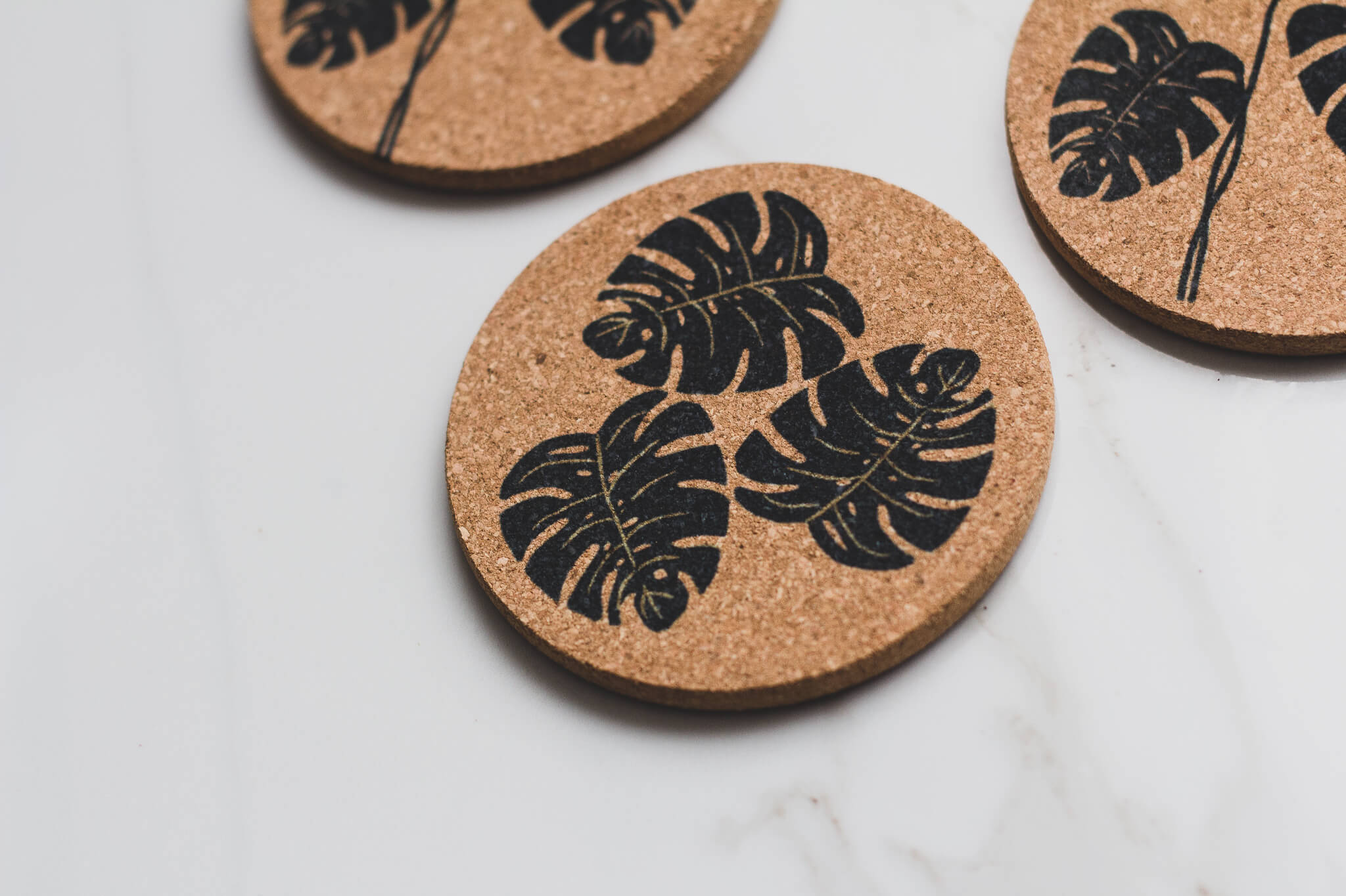 Monstera Plant All Natural Cork Coaster Set of 4