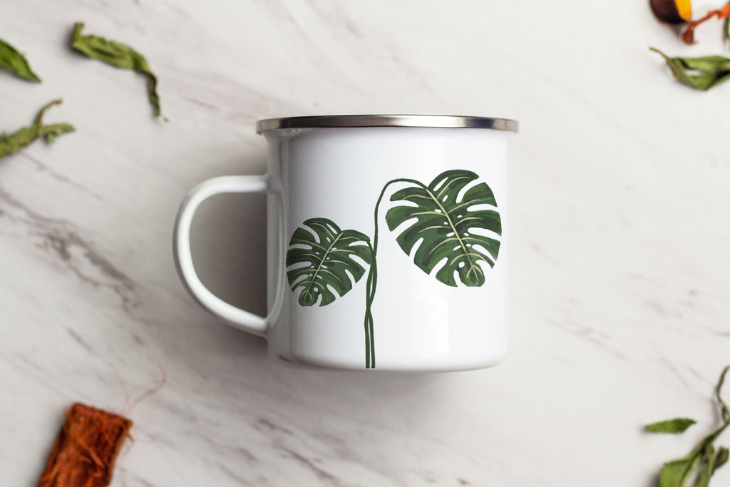 Two Leaf Customizable Monstera Deliciosa Swiss Cheese Plant Mug Enamel Camping Mug
