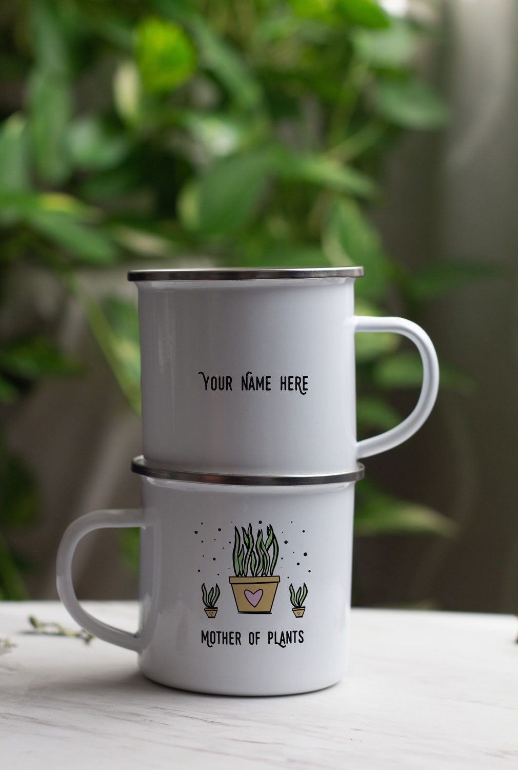 Mother of Plants enamel mug design